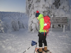 Adjusting gear, before heading out for a snowshoe hike.
