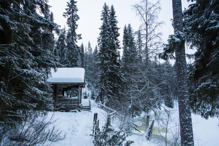 Siilastupa, pieni Karhunkierros. Täällä viihdyttiin pari yötä. On se vaan kaunis talvella. Kulkijoita ei tullut retken aikana vastaan muista. Kesällä täällä on varmaan aikamoinen tungos.